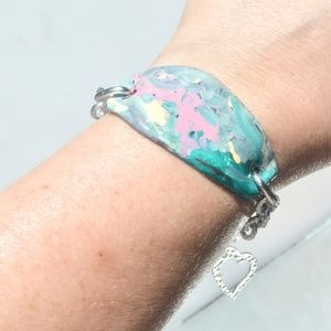 Conceptual Subculture Jewelry - Modern Art Turquoise Blue Cuff Bracelet Handmade